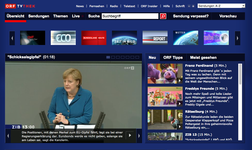 Screenshot ORF TVthek